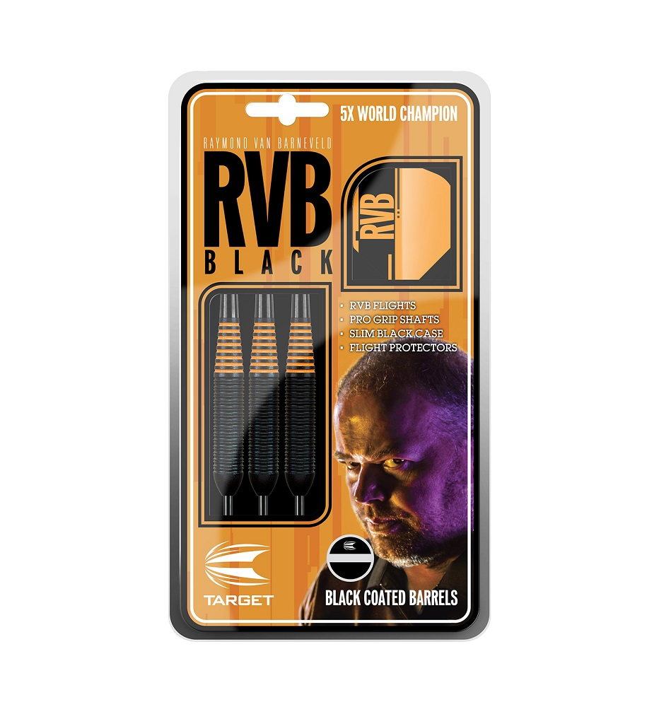 Target Darts Raymond van Barneveld RVB Black Brass Steel Tip Darts Set